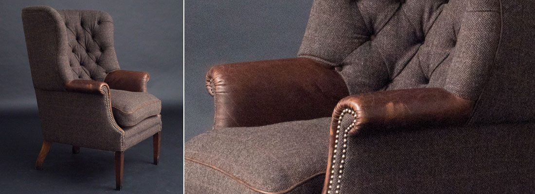 Harris Tweed armchair with brown leather arms