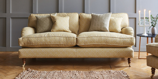 alwinton 3 seater sofa on credit in yellow fabric