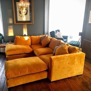 Shop Our Edit: Wadenhoe Corner Unit & FootstoolOrange velvet corner sofa in Warwick Plush Velvet Turmeric