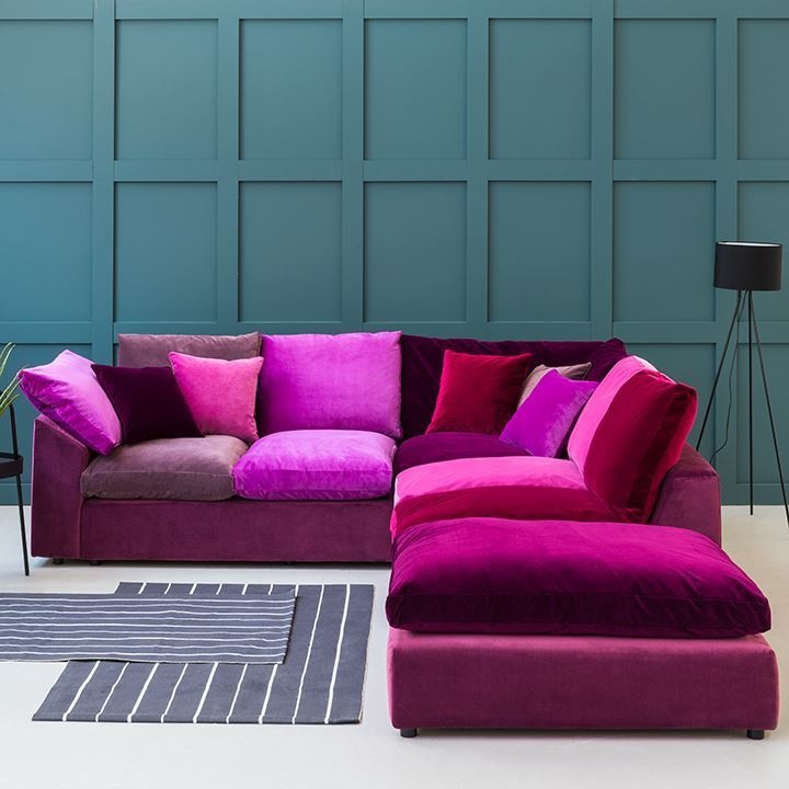 Shop Our Edit: Big Softie Corner Unit & Footstool in Portland Velvet MixPurple velvet corner sofa