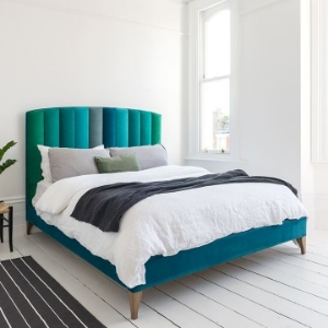 Shop Our Edit: Redchurch KIng Bed in Portland Velvets Teal Mix