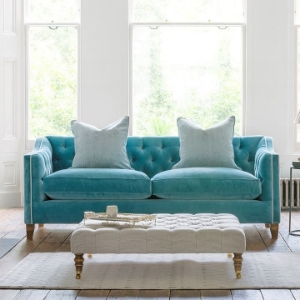 Shop Our Edit: Haresfield Sloped Arm 3 Seater Sofa in Linwood Omega Airforce & Vallum