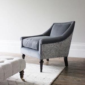 Shop Our Edit: Lyme Regis Chair in Cameron Velvet Steel & Romo Kenza Gunmetal