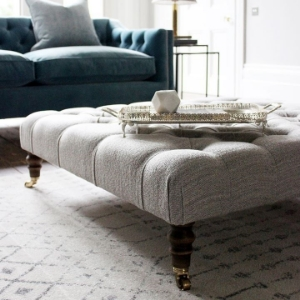 Shop Our Edit: Pentlow Buttoned Square Footstool in Tennyson Cockle