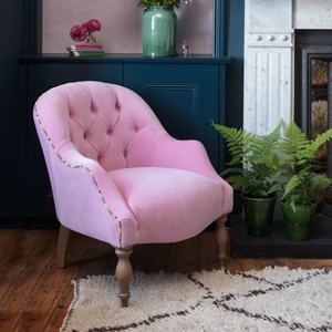 Shop Our Edit: The Pink House x Sofas & Stuff Pink Velvet Buttoned Chair