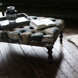 Shop Our Edit: Pentlow  Buttoned Square Footstool in William Morris Acanthus Slate