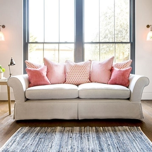 Shop Our Edit: Lanhydrock 3 Seater Sofa  in Tough As Houses Pebble and Coral scatters