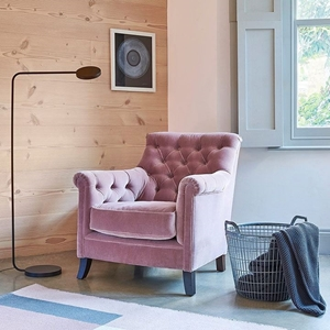 Shop Our Edit: Fordingly Chair in  in Filey Velvet Dusky Pink