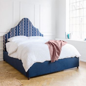 Shop Our Edit: Gothic King Size Bed in Designers Guild Jasham Indigo & Aqua clean Dundar Navy