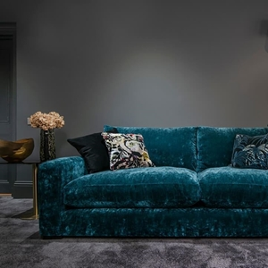Shop Our Edit: Stockbridge 3 Seater Sofa in Linwood Cosmos Velvet Teal