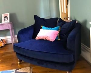 Customer Image:  Helmsley Snuggler in Essential Matt Velvet Dark Blue