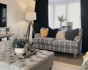 Customer Image:  Alwinton 3 Seater Sofa in Cristina Marrone Piazza Plaid Granite