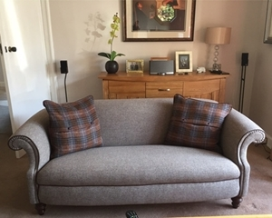 Customer Photo: Ronaldsay 3 Seater Sofa in Heather Harris Tweed with Old Bard Leather Piping