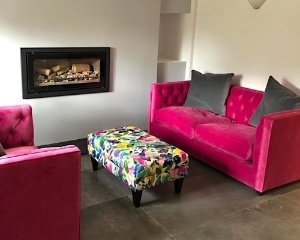 Customer Photo: Haresfield 2.5 seater sofa In Linwood Omega Velvet 25 Pink & Alwinton Small Footstool In BlueBellGray Petite Mode