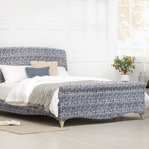 Shop Our Edit: Arles King Size Bed in Indigo & Wills Pomegranate Epic.