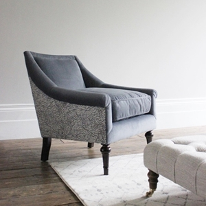 Shop Our Edit: Lyme Regis Chair in Cameron Velvet Steel & Romo Kenza Gunmetal