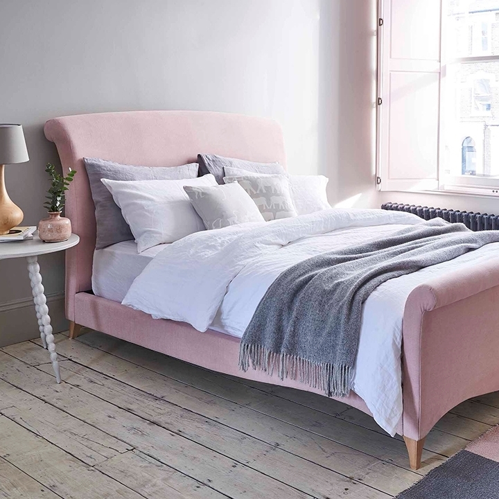 Shop Our Edit: Arles King Size Bed in Linara Dusky Pink
