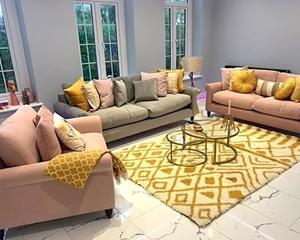 Apuldram sofas in Clever Matt Velvet Blush & Fossil