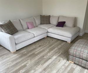 Customer Photos: Stockbridge Corner Sofa in Easy Clean Chalk & Stool in Moon Multi Spot