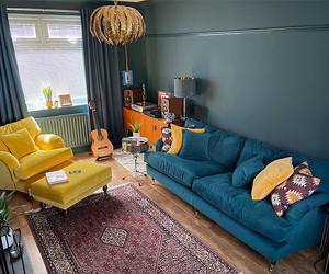 Customer Photos: Alwinton 4 Seater Split Sofa in Cameron Velvet Mallard & Chair & Stool in Omega Velvet Canary