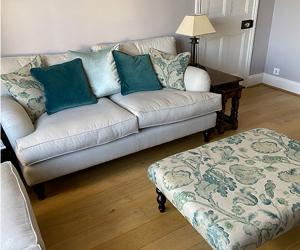 Customer Photos: Alwinton 2 Seater Sofa in Ross Dundee Herringbone LInen & Porthallow Footstool in Floral LInen L'Oiseaux Tapestry Linen