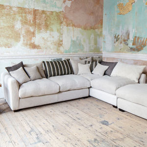 As Seen in Our Brochure: Hambledon Corner Unit & Footstool in Cloth 20 Design 6 with scatters in Cloth 20 Fabric Mix