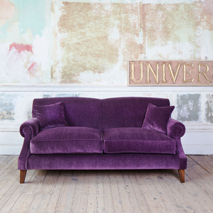 As Seen in Our Brochure: Tangmere 3 Seater Sofa in Textured Velvet Amethyst