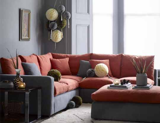 large red corner sofa with footstool inspire page