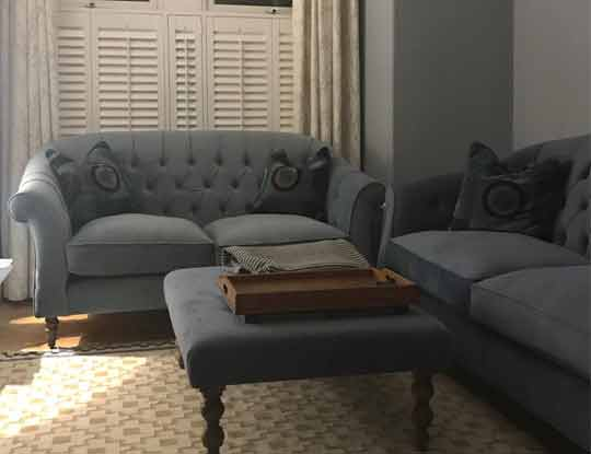 velvet sofa suite in grey