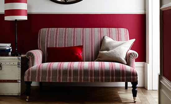 ian mankin red stripe fabric sofa inspire page